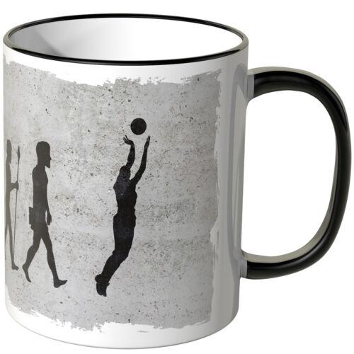 """JUNIWORDS Tasse Farben Geschenk Aufdruck /""""Evolution Basketball/"""" versch"""