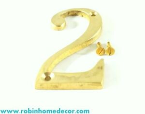 100 Mm Home Decor 4 Height Brass House Address Numbers 2 With 2 Screws Ebay