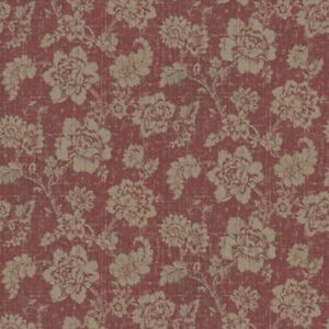 Image Is Loading Dolls House Gold Floral Pattern On Burgandy Fabric