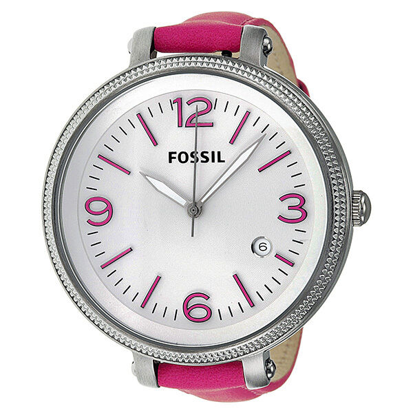 Fossil Heather Silver Dial Pink Leather Ladies Watch ES3277