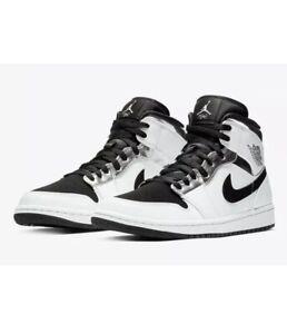 Nike Air Jordan Retro 1 Mid White Black Silver 554724-121 Size 18 ...
