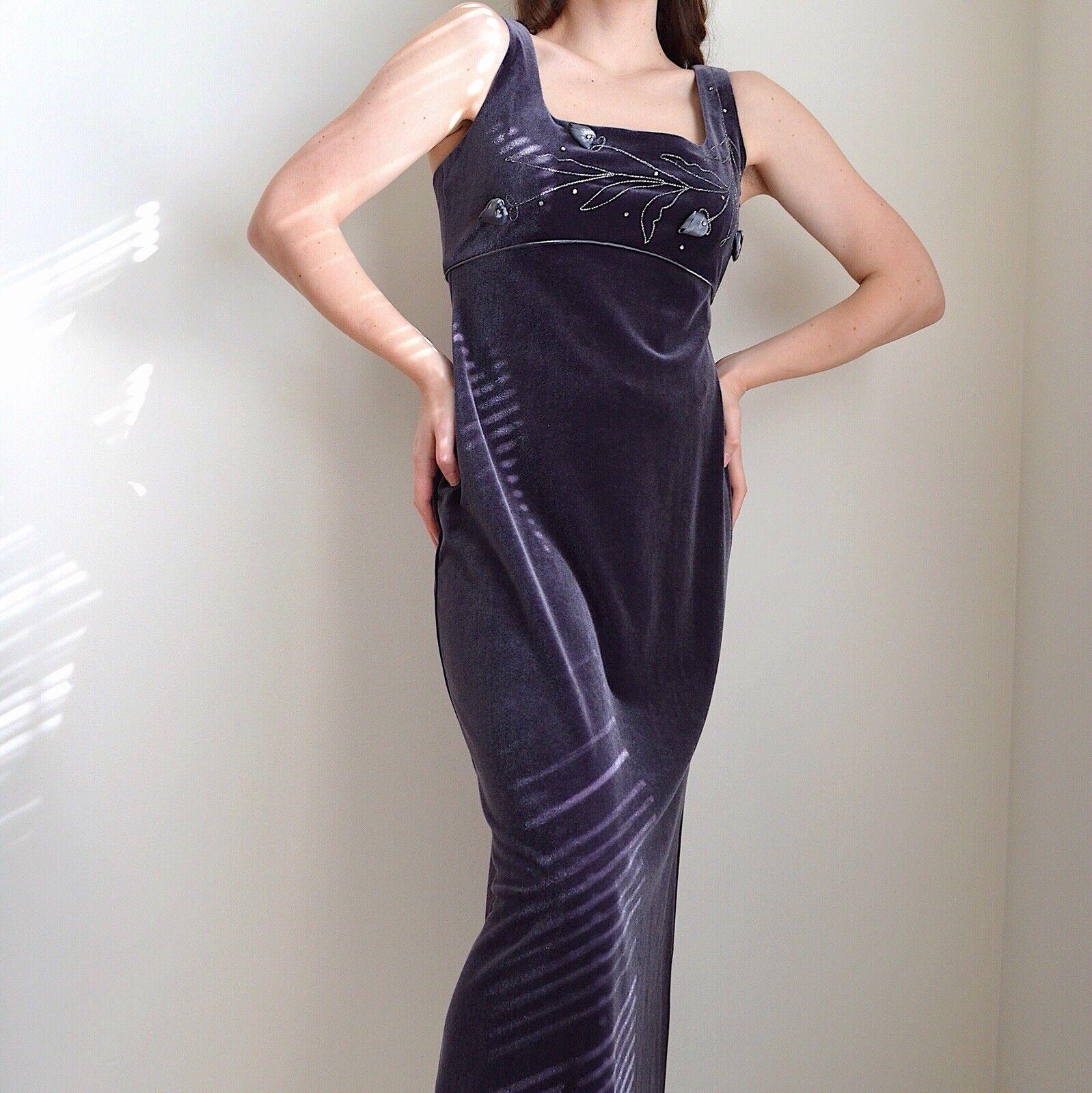 Vintage 1990s Velvet Maxi Dress - image 4