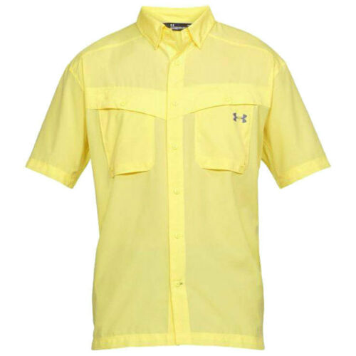 3XL yellow $50 Under Armour Men/'s Tide Chaser Short Sleeve Fishing Shirt Sol