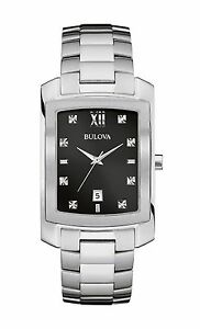 f4266b4c8 Bulova Diamonds Men's 96D125 Quartz Black Dial Silver-Tone Bracelet ...