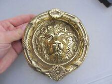Brass Door Knocker Lion Head Wreath Loop Ribbon Flower Antique Georgian Style