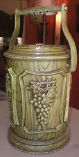 Vintage Ice Bucket~Avocado Green Plastic Faux Wood Grapes Leaves~Wine Chiller