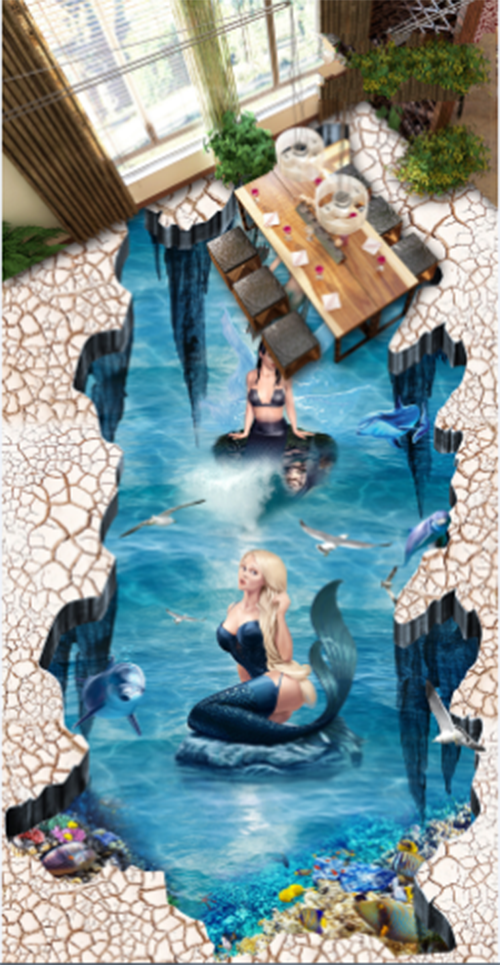 3D Beauty Blau ocean 012 Floor WallPaper Murals Wall Print Decal 5D AJ WALLPAPER