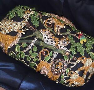 Book Purse Christmas Jungle Clutch Animal Bag Crystal Wedding Evening Tiger Tq5xw8X
