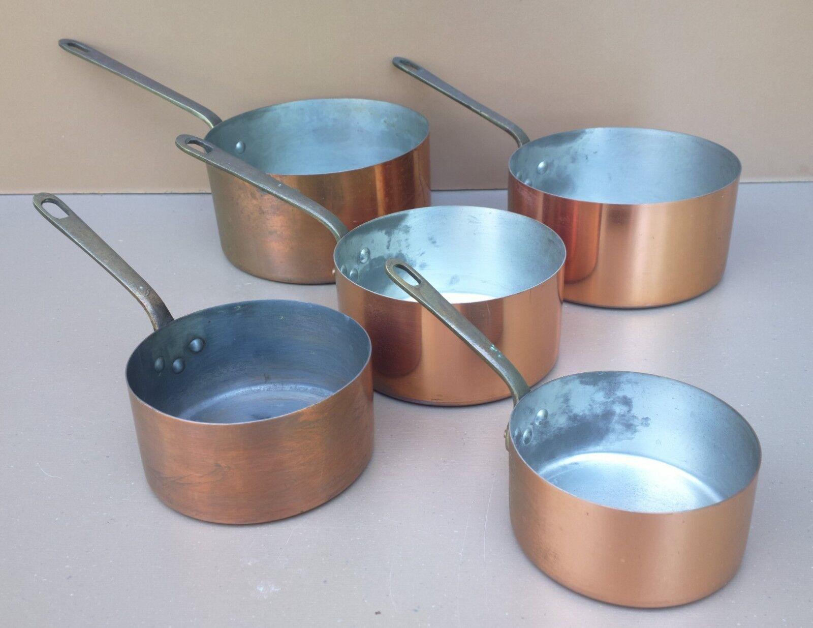 Ancienne série 5 casseroles CUIVRE MéTAUX OUVRES VESOUL old set of 5 copper pans