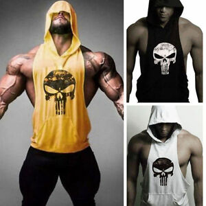 cf02f37e Image is loading The-Punisher-Hoodie-Vest-Muscle-Stringer-Bodybuilding-Gym-