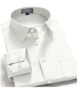 New-Mens-Regular-Fit-Long-Sleeve-Solid-Color-One-Pocket-Oxford-Shirt-White
