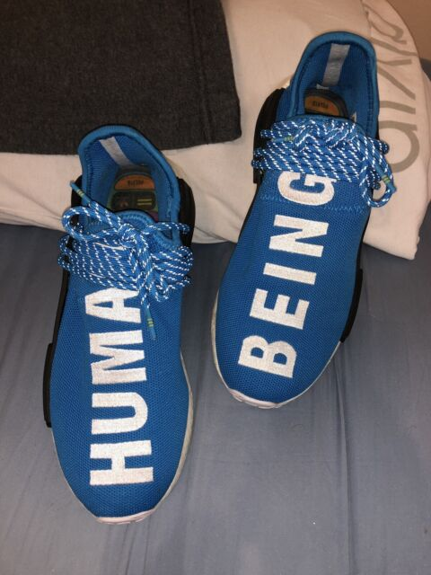 "timeless design 3a842 fcf50 Pharrell Williams x Adidas NMD Human Race Blue ""HUMAN BEING"" Size 9"