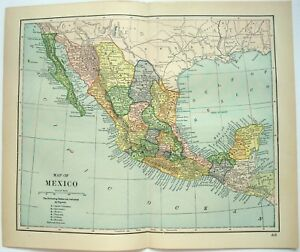 Original 1893 Map Of Mexico By Dodd Mead Company Ebay