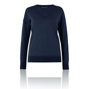 M/&S Collection T387726 Navy Pure Merino Wool Relaxed Fit V-Neck Jumper RRP £29.5