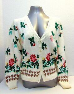 J-Christopher-Hand-Knit-V-Neck-White-Cotton-Cardigan-Sweater-Floral-Size-M