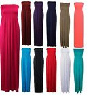 Women Strapless Bandeau Boobtube Sheering Plain Ladies Long Maxi Dress Plus Size