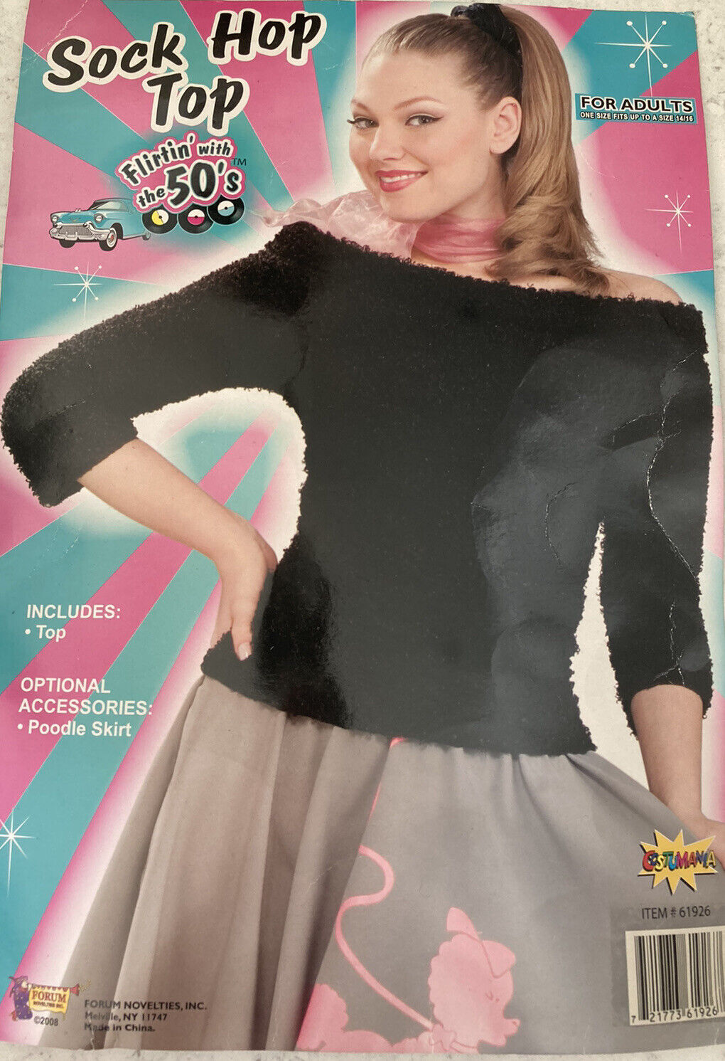 50's Black Sock Hop Top for Adult - One Size up to 14/16 - FREE POSTAGE