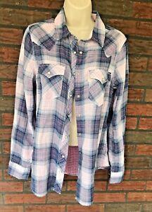 f24cf30e Levis Blue Pink Plaid Shirt Medium Long Sleeve Blouse Pearl Snaps ...