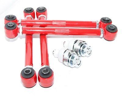 Red Hose /& Stainless Red Banjos Pro Braking PBK7783-RED-RED Front//Rear Braided Brake Line