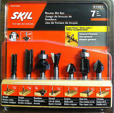 "Skil 91007 7 Piece General Purpose Router Bit Set - 1/4"" Shank - NEW"