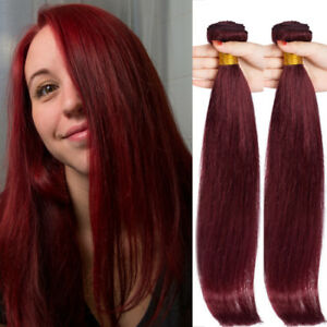 Wine-Red-Burgundy-99J-Virgin-Human-Hair-Extensions-Weave-3-Bundles-300g-Weft-US