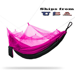 Double Outdoor Parachute Nylon Hammock with Mosquito Net, Neon Purple