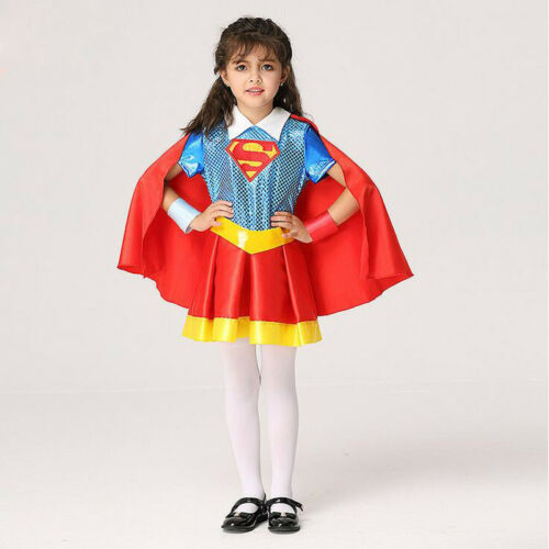 Kids Supergirl Superman Cosplay Costume For Girls Child Fancy Dress With Cloak