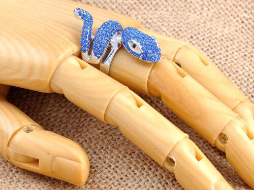 Bleu clair Serpent Serpent Doigt Wrap Fashion Jewelry Statement Breloque Anneaux