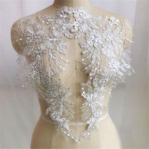 1-Pair-Lace-Applique-Trim-Embroidery-Sewing-Motif-DIY-Wedding-Bridal-Crafts