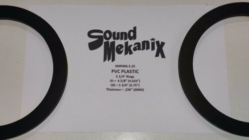 """5.25/"""" 6MM Thick One Pair Made in USA Spacer Rings PVC Plastic Speaker"""