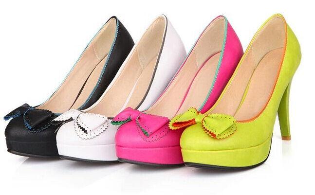 Chaussures Escarpin plateau 3 cm talon 10.5 cm vert rose noir 4 couleurs 8442