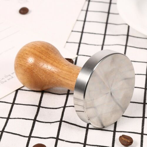58mm Coffee Espresso Tamper Stamper Flat Base Press Tool Stainless Steel /& Wood
