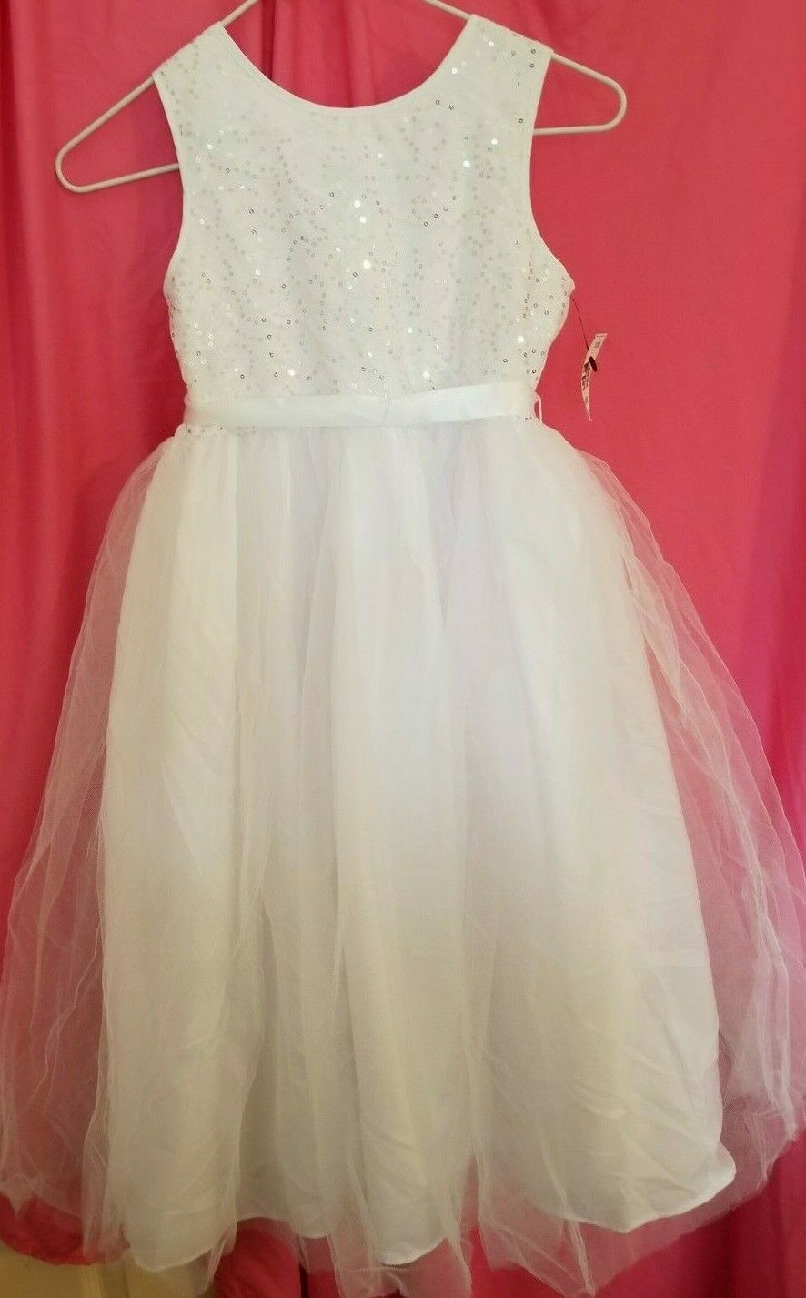 NWT Girl's Tevolio White Lace and Tulle Flower Girl Dress Size 8
