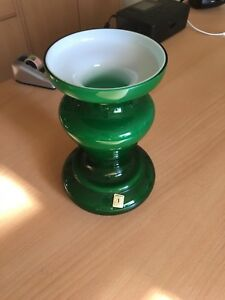 Suessmuth-Vase-Gruen-Glas-70er-Jahre-Retro-weiss-20cm-Mundgeblasen