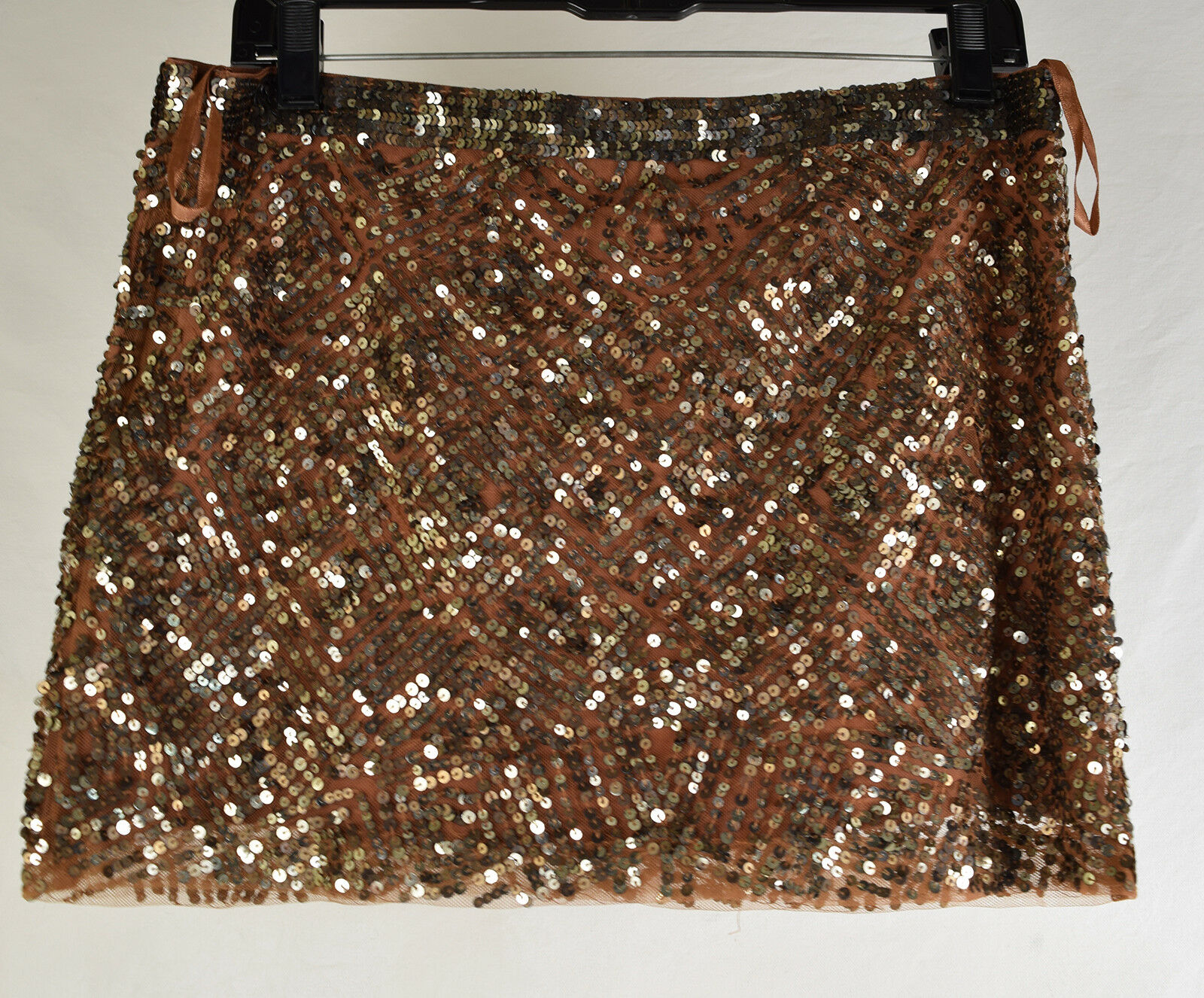 Haute Hippie Womens 100% Silk Sequin Mini Brown Bronze Skirt S NWT