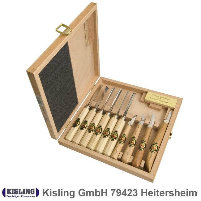 Kerbschnitzbeitel Satz Kirschen   3441- 11 tlg. im Holzkasten - Schnitzmesser