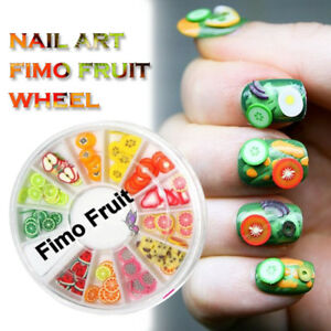 120 Pcs 3D Fimo FRUIT Slice Wheel DIY Nail Art Decoration Nail Art ...