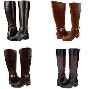 Michael-Kors-Womens-Bryce-Buckle-Side-Zipper-Knee-High-Tall-Casual-Riding-Boots