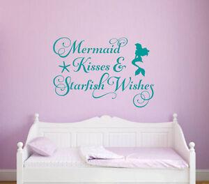 MERMAID-KISSES-STARFISH-WISHES-Vinyl-Wall-Decal-Quote-Sticker-Girls-Room-Decor