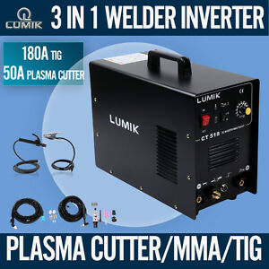 LUMIK 3in1 DC Inverter Welder 180A TIG/ARC/PLASMA CUTTER 50A Welding Machine