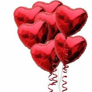 Pack-of-10-18-034-inch-45cm-Red-Heart-Foil-Balloons-Valentine-039-s-Day-Romantic