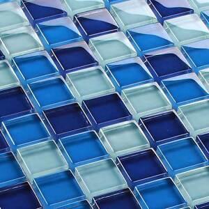Glasmosaik fliesen mosaik crystal blau mix 8 mm ebay - Crystal mosaik fliesen ...