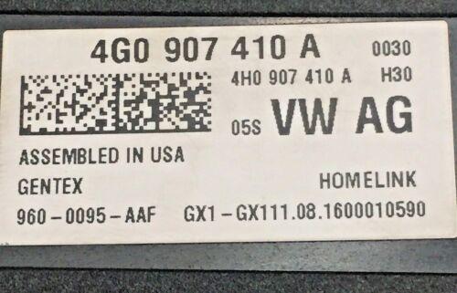 4G0907410A 4G0 907 410 A OEM AUDI VW Garage Door Transmitter Part Number
