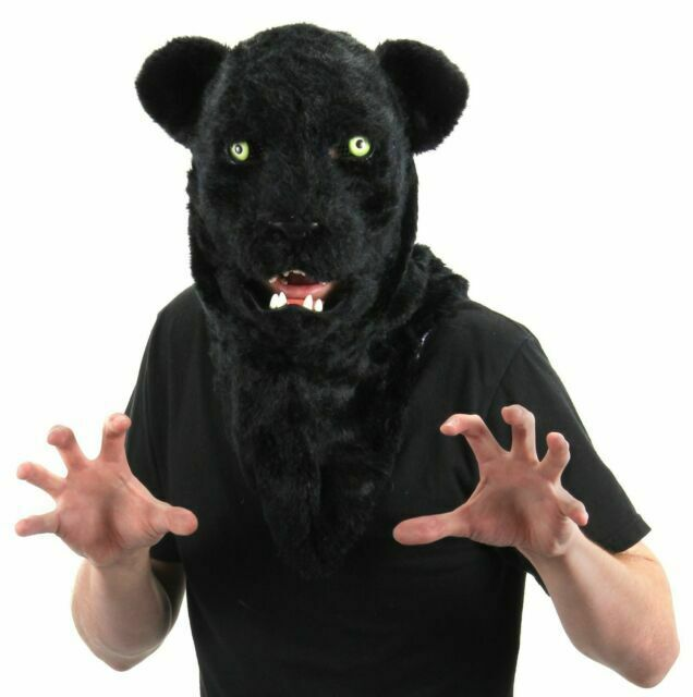 Black Panther Mask Mouth Mover Animal Fancy Dress Up Halloween Costume Accessory