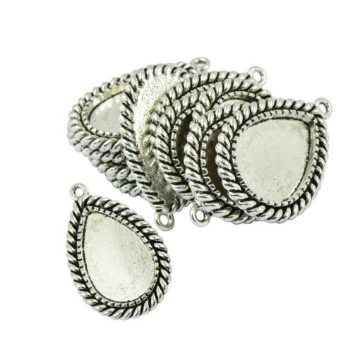 10Pcs Blank Waterdrop Bezel Tray Base for 30x20mm Cabochon Necklace Pendant