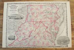 Pennsylvania Virginia Map.Antique Colored Map Of W Virginia Virginia Pa De Johnson S Family