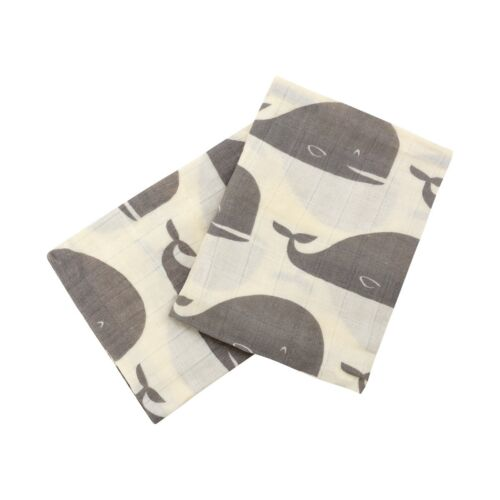 Milkbarn Burp Cloths 100/% GOTS Organic Cotton Gray Whales Baby Pack of Two New