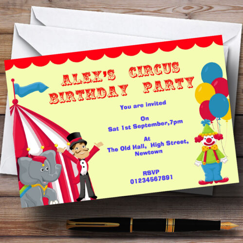 Th19 Circus Clown And Tent Theme Personalised Birthday Party Invitations