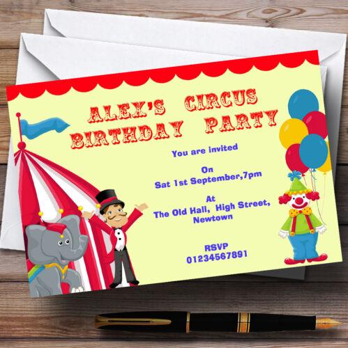 Circus Clown et tente thème Personnalisé Fête D/'Anniversaire invitations-TH19