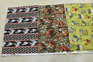 1-Yd-30-034-Long-Chicken-Theme-Novelty-Print-Cotton-Bundle-Various-Brands-T18